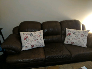 Brown leather bonded 3 seater couch