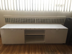 IKEA Besta - High Gloss White TV Bench with Sliding Drawers