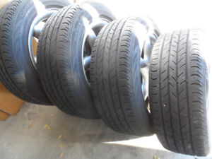 4 CONTINENTAL All SEASON Tires,205/55/16,on Alloy Rims 5x112