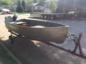 12' aluminum fishing boat, trailer, motor NEED GONE!
