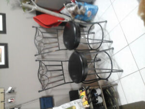 Black steel swivel counter top chairs