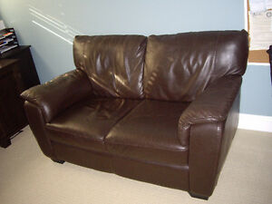 Chocolate Brown Leather Loveseat