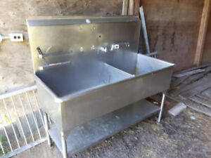 Stainless steel double restaurant sink for sale
