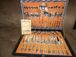 EPZING  Italy Vintage 51 Piece Cutlery Set, Silver Plated