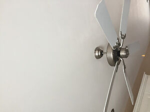 White ceiling fan with brushed nickel