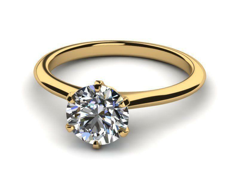 Wedding Lady Diamond Round Ring Genuine 18 Kt Yellow Gold 1 Ct Size 4.5 6 7.5 9