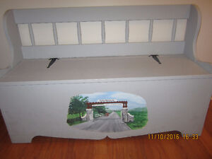 Decon's Bench Hall Bench Hand Painted Scenes of Gananoque Kingston Kingston Area image 2