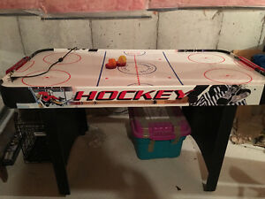 Air hockey game.