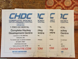 4 Vouchers Of 1hr Ice-time ($628.00 of Ice Rental For $400.00)