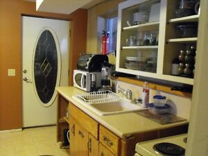 Furnished basement with laundry and kitchen