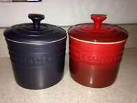 Le creuset two stoneware storage jars