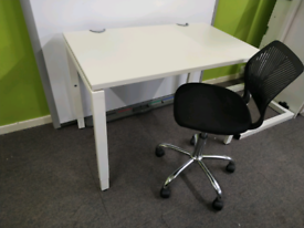 White office desk and chair 100 x 60 cm
