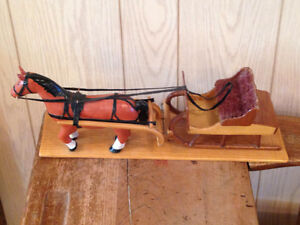 Vintage Handmade Wooden Horse and Sleigh