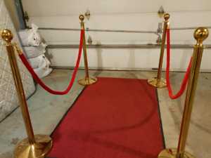 Red Carpet Golden Stanchions Solid! Tapis Rouge Poteaux Location