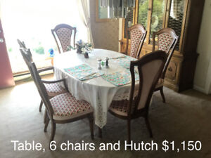Vintage Dining Room set with 6 chairs and hutch -Queensland