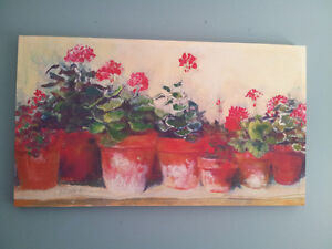Warm and rustic potted plants canvas