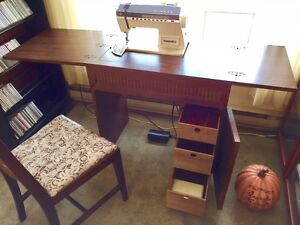 Singer Touch-Tronic 2000 Sewing Machine with Wooden Cabinet