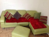Lime green, leather corner sofa for sale