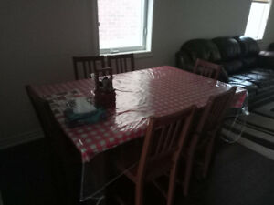 Wood Dining table with 6 Chairs used - extendable up to 8 people