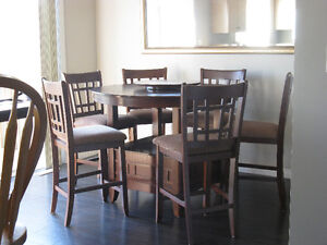 Kitchen Pub Style Table With 6 Chairs