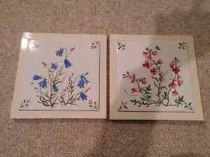 Set of Handpainted Floral Trivets/Wall Art