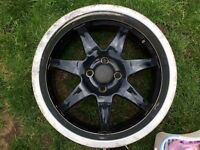 "Wolfrace 7x17"" et38 4x100 old school deep dish rims"