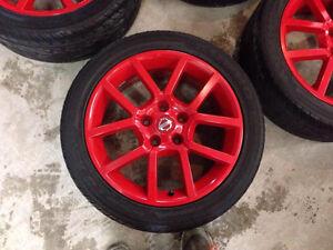 AUBAINE 4 Mags de nissan 17'' powder coat rouge + pneus