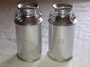 Vintage Milk Can Salt and Pepper Shakers in Excellent Condition