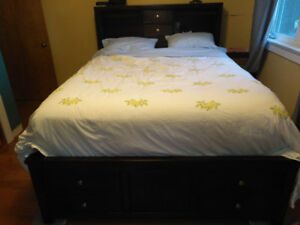 Gorgeous wood storage bed -queen