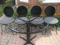 Patio Set 4 Chairs & Table, Made of Solid Steel Rod
