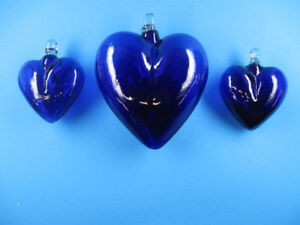 Large 7.5 Inch Hand Blown Blue Glass Hearts From Mexico