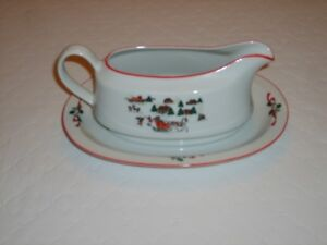 Christmas Tea Pot , Gravy Boat , and Cake Plate