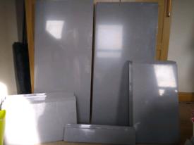 Kitchen cupboard doors, drawer fronts, plinths in gloss dust grey