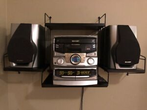 Sharp Stereo System+stand, 3 CD changer 2 cassette player radio