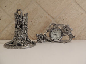 Pewter Seagull Brand Mini clock & candle holder