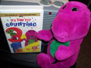 Vintage Barney vhs tape and 15 inch stuffie of Barney
