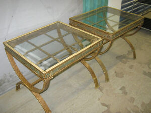 Two glass top end tables $75.00