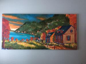 tableau ''port au Persil'' huile sur toile 33'' X 69''