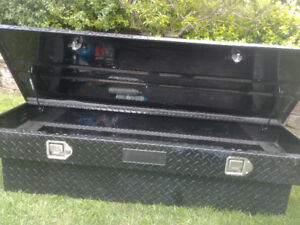 Black toolbox for truck