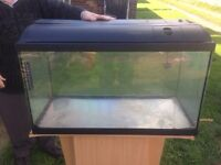 Large glass fish tank on wooden stand with lots of extras