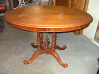 Large Oval Walnut Pedestal Style Table, Warm Colour, Decorative
