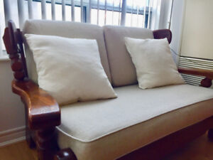 MOVING: Solid wood sofas, antique with modern, excellent shape