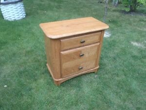 Solid Oak 2 Drawer Cabinet