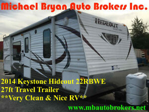 2014 KEYSTONE HIDEOUT 22RBWE - 27FT TRAVEL TRAILER *GREAT PRICE*