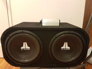 "2 x12"" JL audio subs in box with JL audio amp"