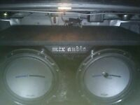 Two subs, ported box, amp, capacitor
