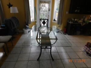 Glass kitchen table w/5 chairs