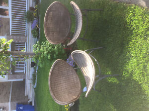 Oval wicker chairs