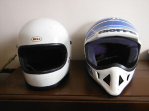 2 Old Antique  Motorcycle Helmets