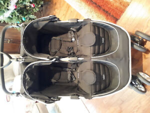 Britax B-Agile Double Stroller Black with car seat adapter